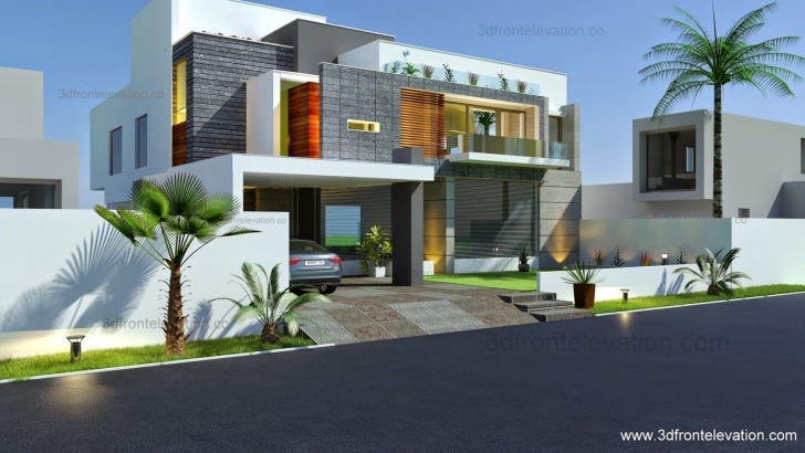 Amazing 3D Front Elevation: Beautiful Modern Contemporary House Modern 3D Elevation Picture