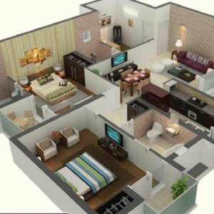 1000 Sq Ft House Plans 2 Bedroom Indian Style 3D
