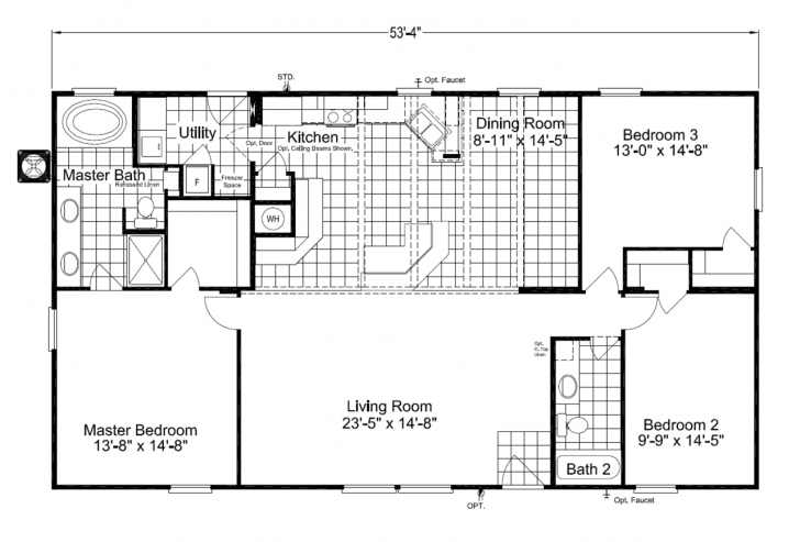 Amazing Dazzling House Plans Also 26 X 50 3 Bedroom 2 Bath Floor For Split 16 By 50 House Designs Image