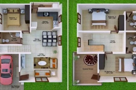 1000 Sq Ft House Plans 2 Bedroom With Car Parking