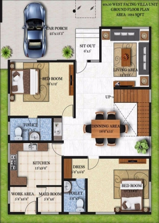 Amazing House Plan 25 X 50 Awesome Excellent House Plans For 40 X 50 20*50 House Plan 2 Bhk 3D Picture