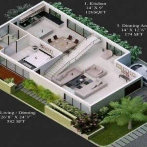 15*60 Duplex House Plan 3D