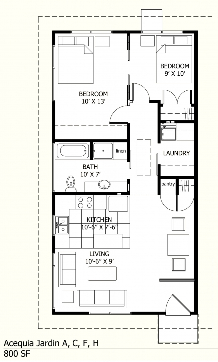 Amazing I Like This One Because There Is A Laundry Room! :-) 800 Sq Ft Floor Simple House Plan With 2 Bedrooms In 800Sft Pic