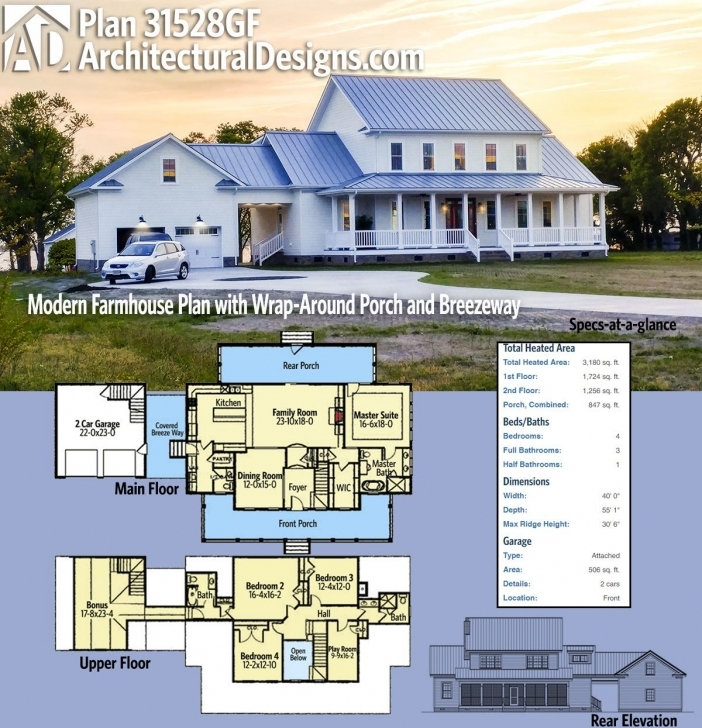 Amazing Plan 31528Gf: Modern Farmhouse Plan With Wrap-Around Porch And Modern Farmhouse Plans Image