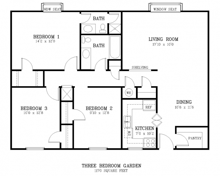Amazing The Courtyard - Three Bedroom Apartment Standard 3 Bedroom Flat Plan Photo