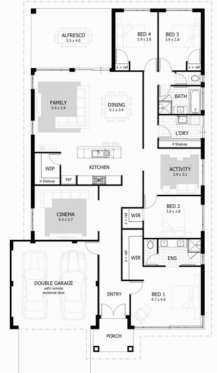 Astonishing 4 Bedroom House Floor Plans Good 4 Bedroom Bungalow House Floor Four Bedroom Bungalow Floor Plan Image