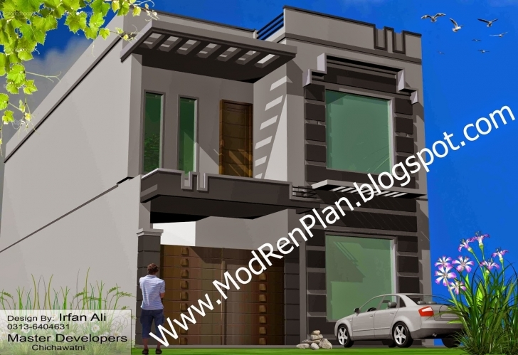Astonishing 7 Marla House Front Design And Plan,front Elevation 7 Marla House Design Pakistan Image