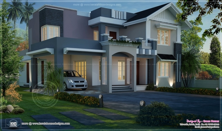 Astonishing Awesome Night View Elevation Of 2720 Sq-Ft Home - Kerala Home Design Kerala House Elevations With 3D View Image
