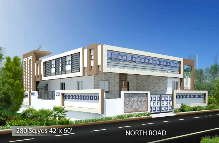 Astonishing Download Free Plans 280 Sq Yds 42X60 Sq Ft North Face House 3Bhk North Face House Elevation Images Picture