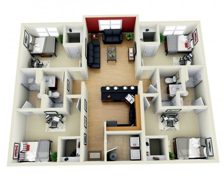 Astonishing Fabulous 4 Bedroom House Floor Plan Design 3D With Plans 3D 4 Bedroom House Plans One Story Image