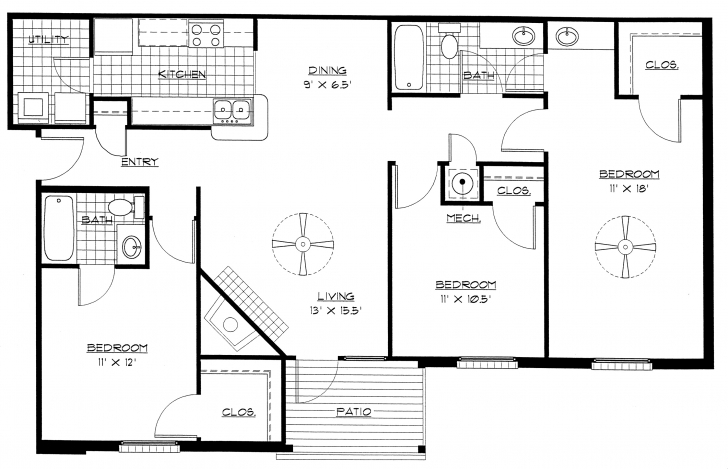 Astonishing Floor Plan Of 3 Bedroom Flat - Homes Floor Plans 3 Bedroom Building Plan Drawing Pic