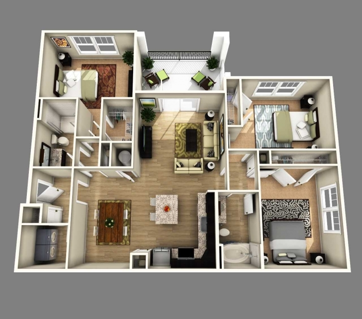 Astonishing Floor Plan Of A 4 Bedroom House 3D Ideas Open Bathroom Inspirations 4 Bedroom House Floor Plans 3D Photo