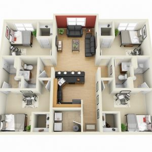 4 Bedroom 1 Story House Plans 3D