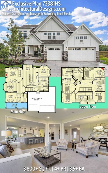 Astonishing Plan 73381Hs: Exclusive Modern Craftsman Farmhouse With Welcoming 16 Feet Foront Image