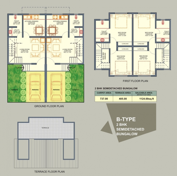 Astonishing Plans: Twin Home Plans Semi Detach Bungalow Plan And Elevation Picture