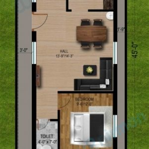 20X45 House Plan West Facing