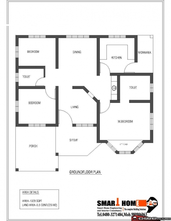 Awesome 1320 Square Feet 3Bhk Low Budget Kerala Home Design And Plan - Home Kerala Home Design Plans Pic