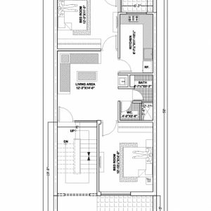 20 X 50 House Plans East Facing