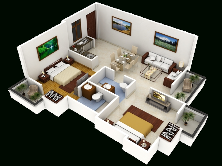 Awesome 3D House Designs Blueprints Room Design Plan Fancy In 3D House Cool Simple House 3D Blueprint Photo