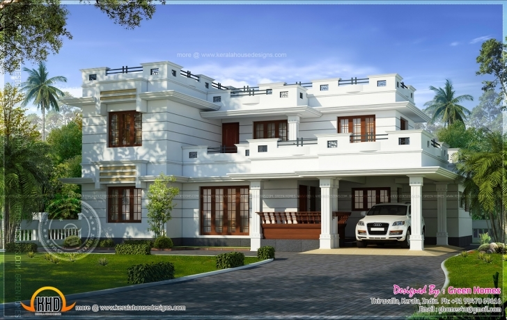Awesome Flat Roof House Design Square Feet Indian Plans - Building Plans Designs For Flat Roofed Houses Image