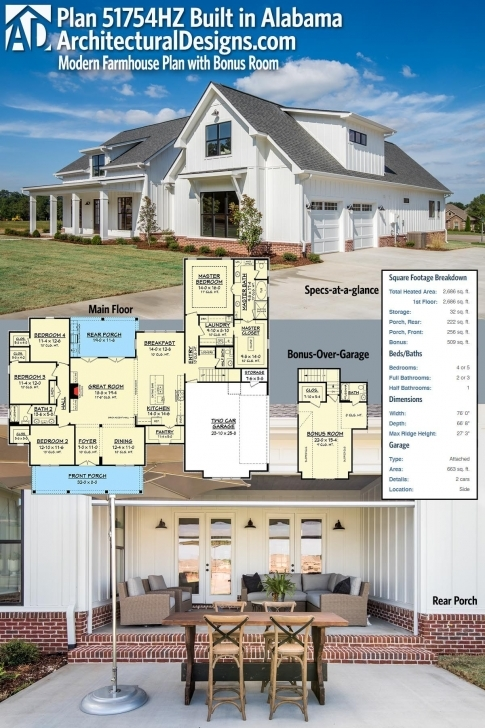 Awesome Plan 51754Hz: Modern Farmhouse Plan With Bonus Room | Farmhouse Thornton Builders Modern Farmhouse Plan Picture