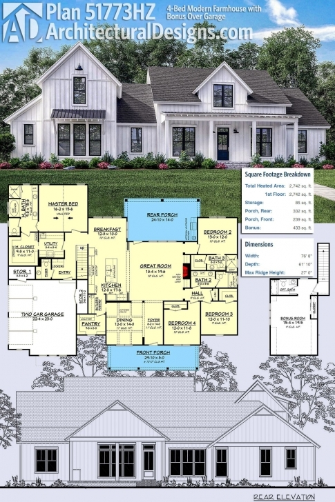 Awesome Plan 51773Hz: 4-Bed Modern Farmhouse With Bonus Over Garage Modern Farmhouse Plans With Pictures Image