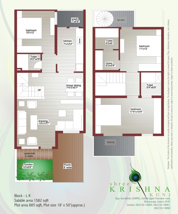Awesome Shree Krishna Kunj 10×50 House Plan Map Picture