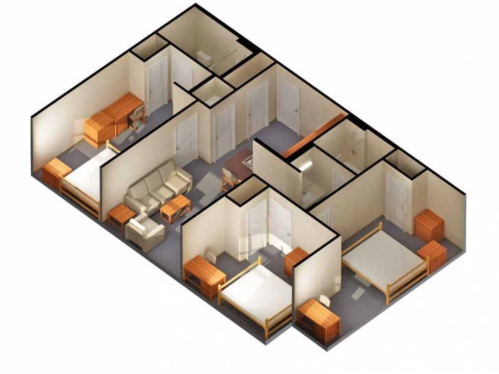 Awesome Stunning Photo Of 3D Plan 2 Bedroom Collection Including Online 3D House Plain Photo