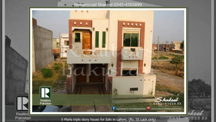 Best 5 Marla Triple Story House For Sale In Lahore (Rs. 55 Lack Only 15 Marla Only House Design In Pakistan Image