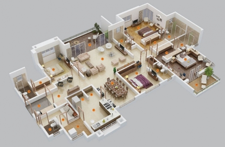 "Best 50 Four ""4"" Bedroom Apartment/house Plans 