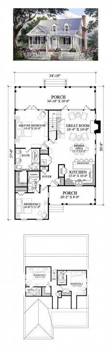 Best 60 Best Homes Images On Pinterest | Small Houses, Cottage Floor Simple Four Bedroom House Plans With A Verandah Pic