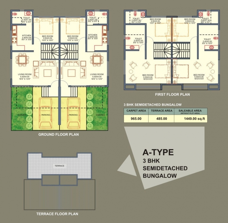 Best Bedrooms Semi Detached Bungalow House Style Plans With Modern Semi Semi Detach Bungalow Plan And Elevation Picture