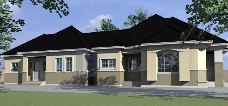 Best Contemporary Nigerian Residential Architecture: 4 Bedroom Bungalow Four Bedroom Flat House Image