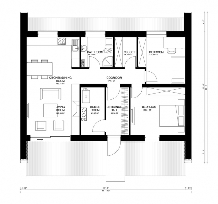 Best Contemporary Style House Plan - 2 Beds 1.00 Baths 856 Sq/ft Plan Front Elevation Plan #484-5 Photo