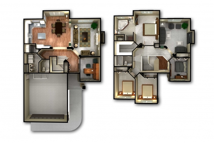 Best Incredible 2 Story 3D Floor Plan And House Plans Also Trends Images 2 Storey House Plan 3D Picture