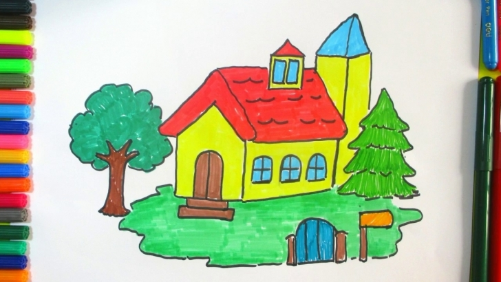 Best Learn How To Draw A Beautiful House For Kids | Colorful Drawing And How To Draw A Beautiful House Step By Step Picture