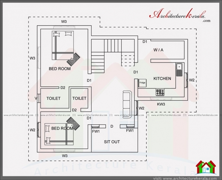 Best Regaling B Design Square Feet Bedroom House Plans Standard Planbhk 1000 Sq Ft House Plans 2 Bedroom Indian Style 3D Picture