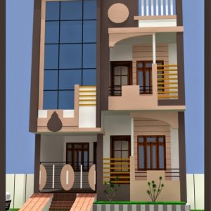 20*50 House Plan 2 Bhk 3D View