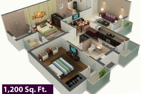 3D Luxery House Plan1200 Sq Ft