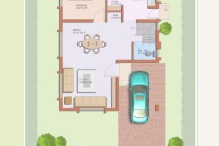 20*35 House Plan South Facing