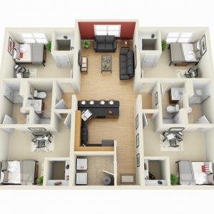 3D 4 Bedroom House Plans One Story
