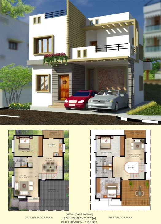 Brilliant Floor Plan - Balaboomi City 30 40 3 Bhk House Plans East Facing Image