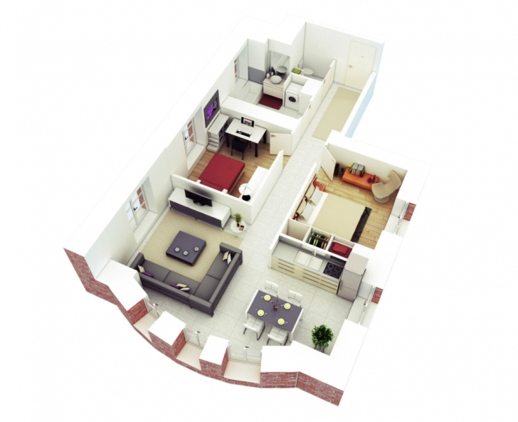 Brilliant Home Design: More Bedroom D Floor Plans 20*50 Plot Design, Charming 20*50 Plot Home Design Image