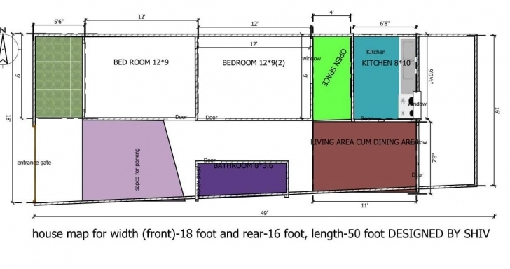 Brilliant House Map For Front 18 Feet Rear 16 Feet And Length 50 Feet - Gharexpert 16*50 House Map Pic