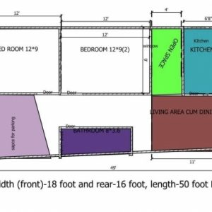 18 Feet By 50 Feet House Map