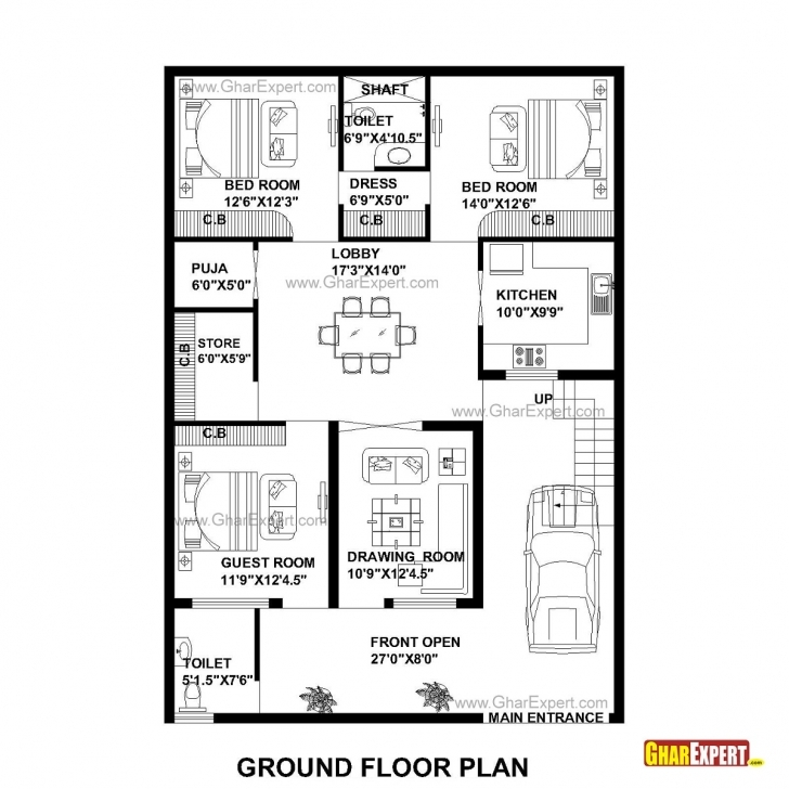 Brilliant House Plan For 35 Feet By 50 Feet Plot (Plot Size 195 Square Yards 3Bhk House Plan 35×40 Pic