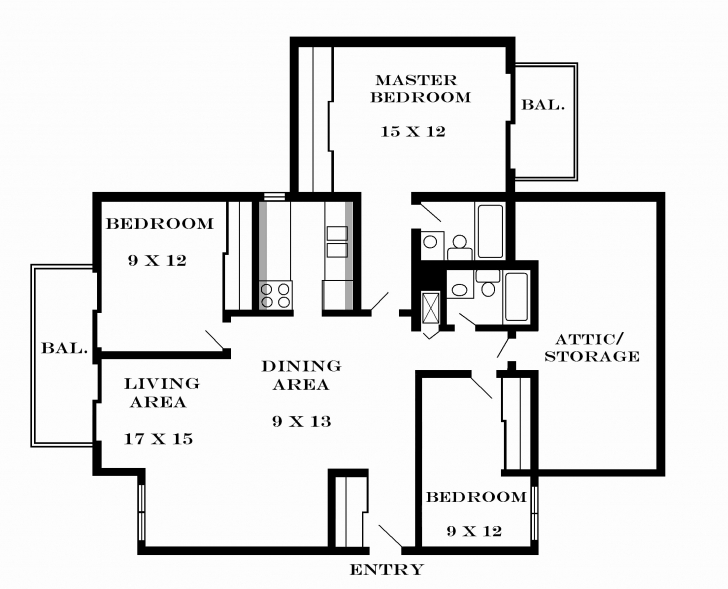 Brilliant Luxury 3 Bedroom House Plan On Half Plot - House Plan 3 Bedroom Flat Plan On Half Plot Picture