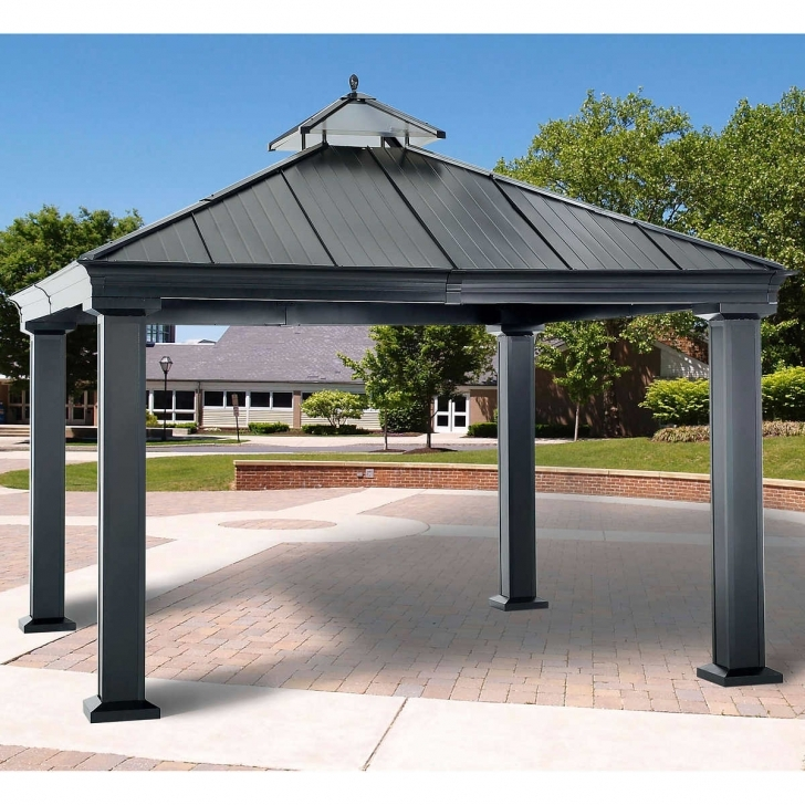 Brilliant Terrific Hardtop Gazebo 10 X 12 Canopy W Mosquito Netting | Www Hardtop 12X12 Costco Gazebo Image