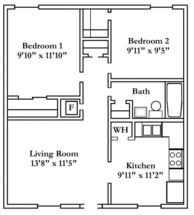 Classy 2 Bedroom Apartment Floor Plan | Two-, Three- And Four-Bedroom Units Four Bedroom Flat Floor Plan Picture