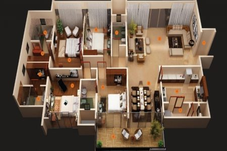 Modern 4 Bedroom House Floor Plans 3D